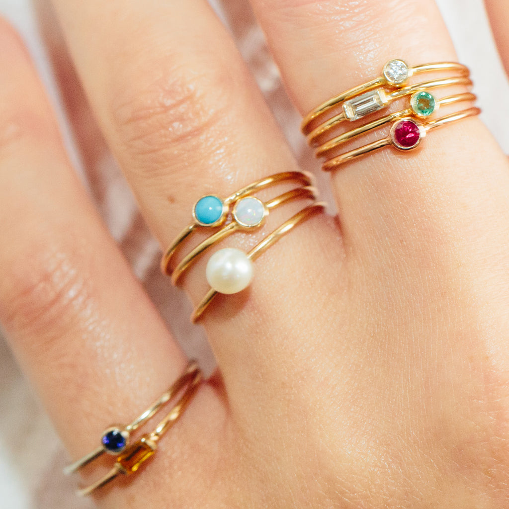 14k small pearl ring | JUNE BIRTHSTONE