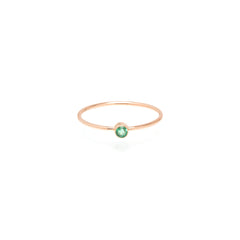 Zoë Chicco 14kt Rose Gold Bezel Set Emerald Ring