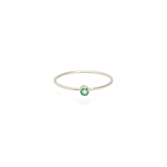 14k emerald bezel ring | MAY BIRTHSTONE