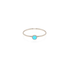 Zoë Chicco 14kt White Gold Large Bezel Set Turquoise Ring