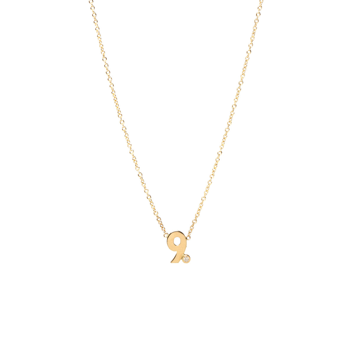 Zoë Chicco 14kt Yellow Gold White Diamond Number Necklace