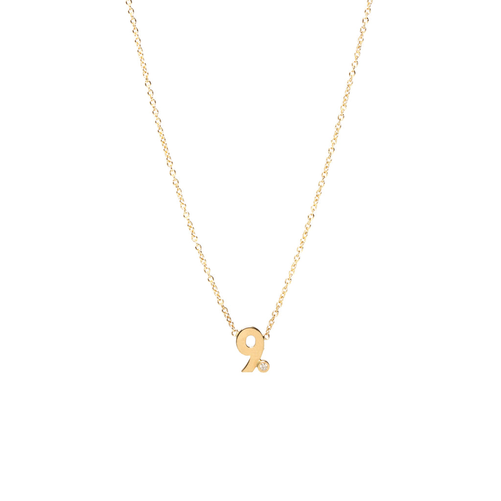 14k diamond number necklace