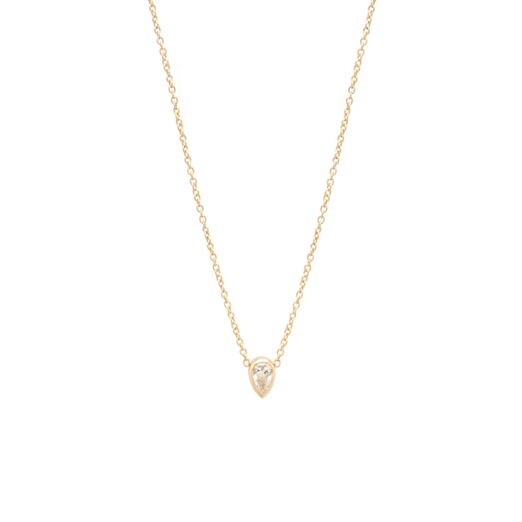 14k single teardrop diamond choker necklace