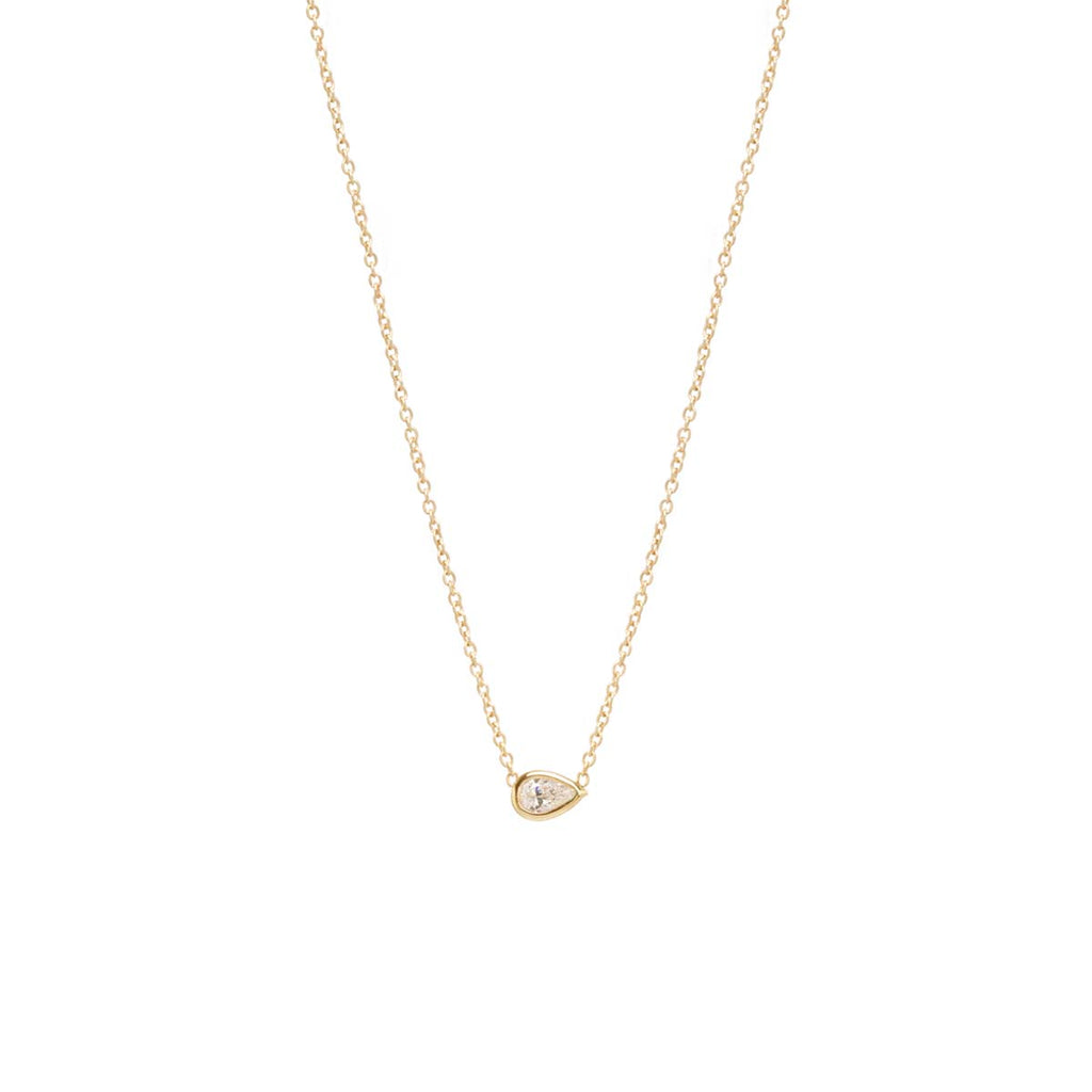 Zoë Chicco 14kt Yellow Gold Horizontal Pear Shaped Diamond Necklace