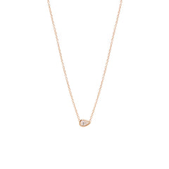 Zoë Chicco 14kt Rose Gold Horizontal Pear Shaped Diamond Necklace