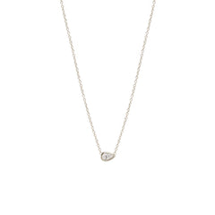 Zoë Chicco 14kt White Gold Horizontal Pear Shaped Diamond Necklace