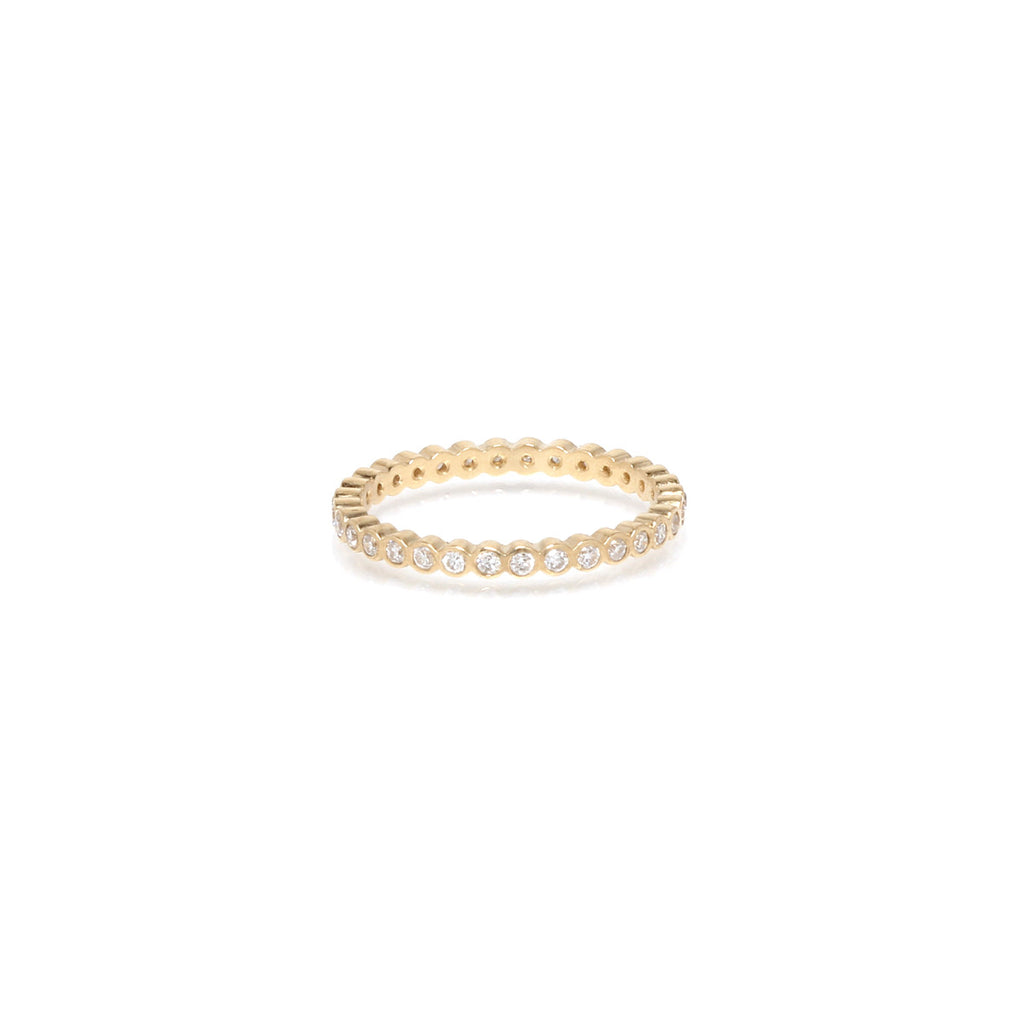 Zoë Chicco 14kt Yellow Gold White Diamond Bezel Set Eternity Band Ring