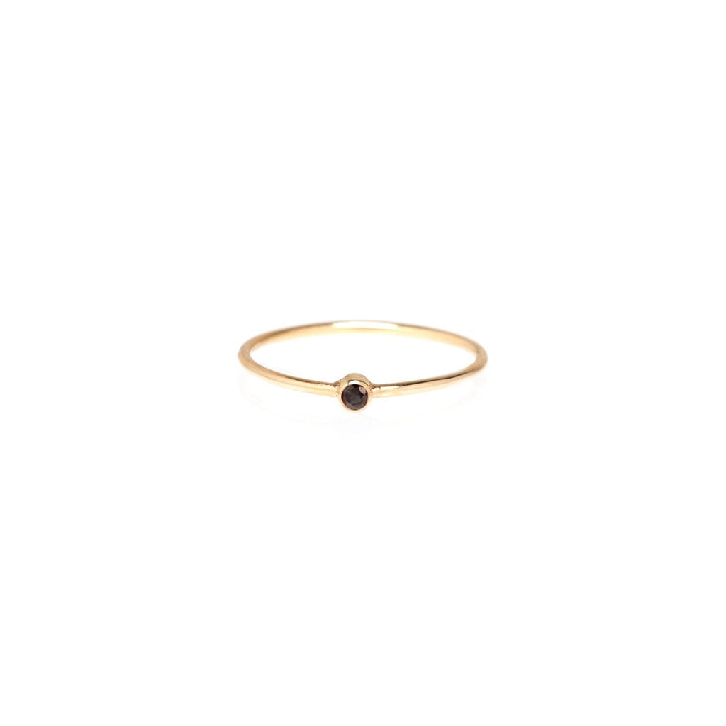 Zoë Chicco 14kt Yellow Gold Black Diamond Thin Band Ring