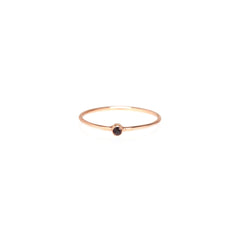 Zoë Chicco 14kt Rose Gold Black Diamond Thin Band Ring