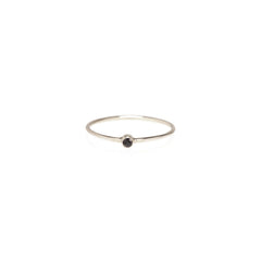Zoë Chicco 14kt White Gold Black Diamond Thin Band Ring