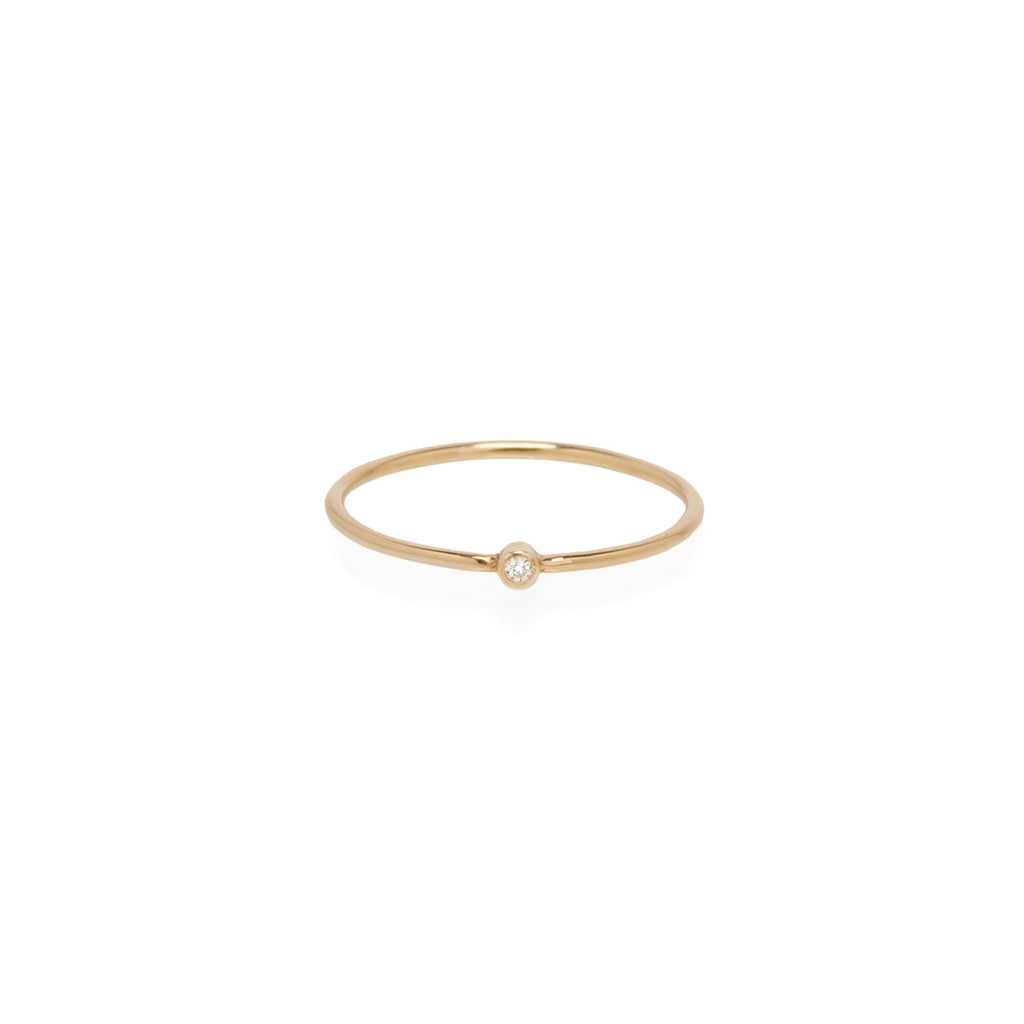14k white diamond thin band ring