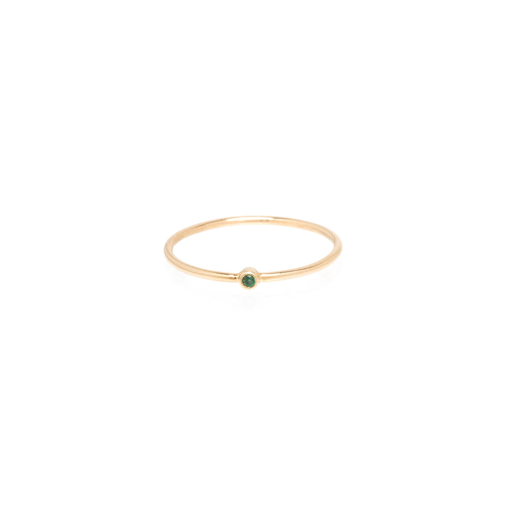 14k tiny emerald bezel ring
