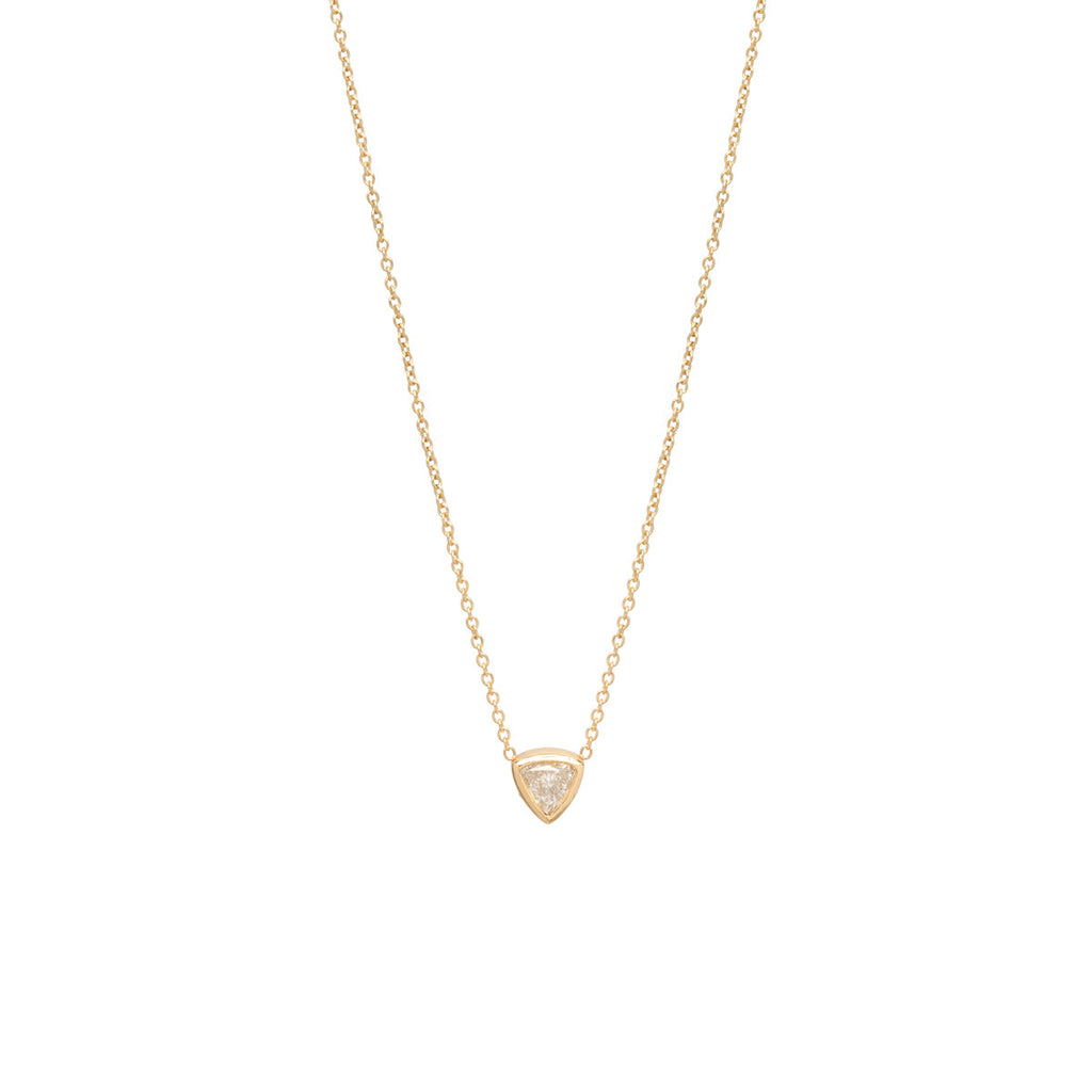 14k single trillion diamond necklace