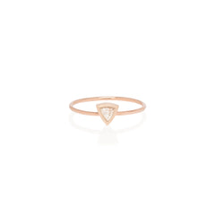 Zoë Chicco 14kt Rose Gold Large Trillion Diamond Ring