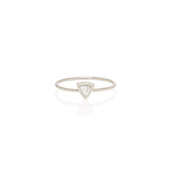 Zoë Chicco 14kt White Yellow Gold Large Trillion Diamond Ring