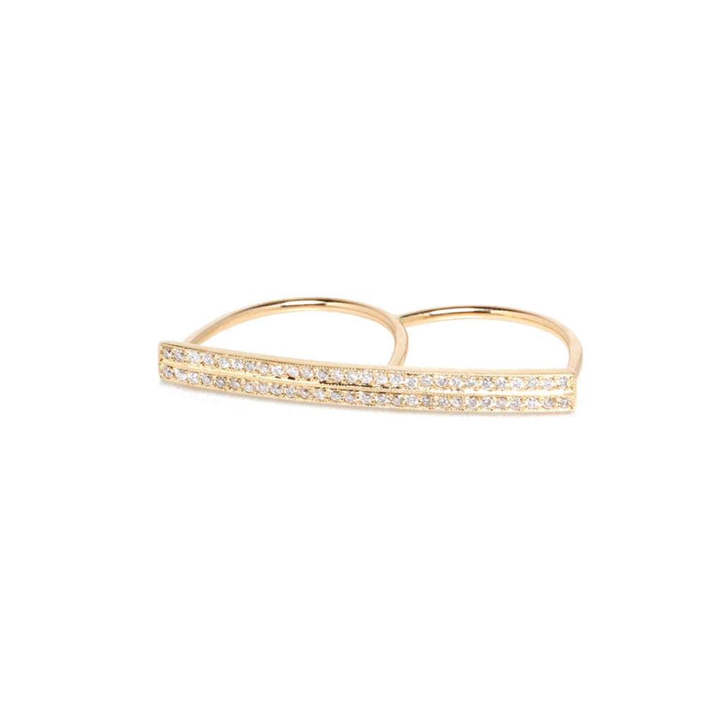 14k double finger pave two bar ring
