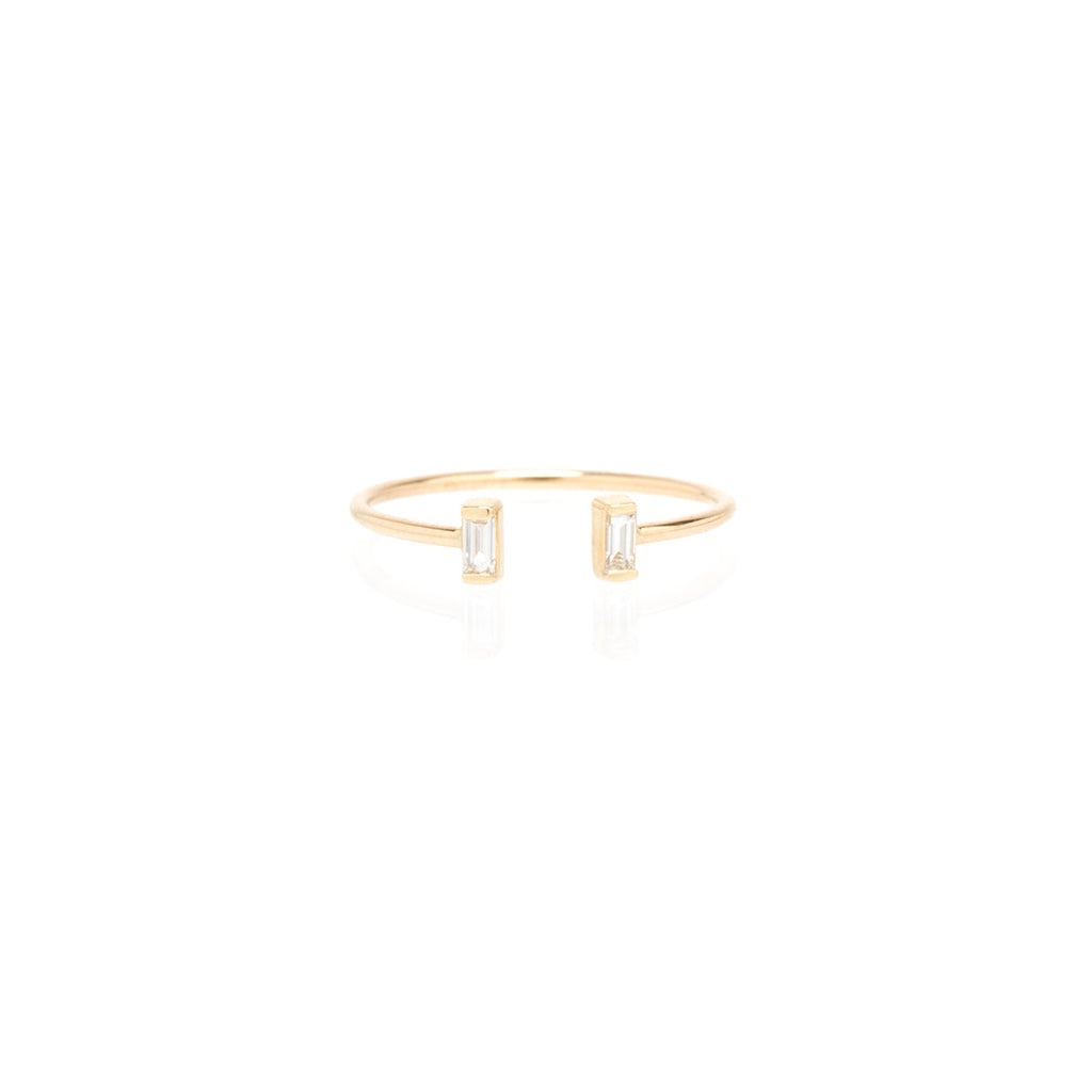 14k open baguette diamond ring