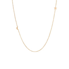 14k itty bitty off-center moon and star necklace