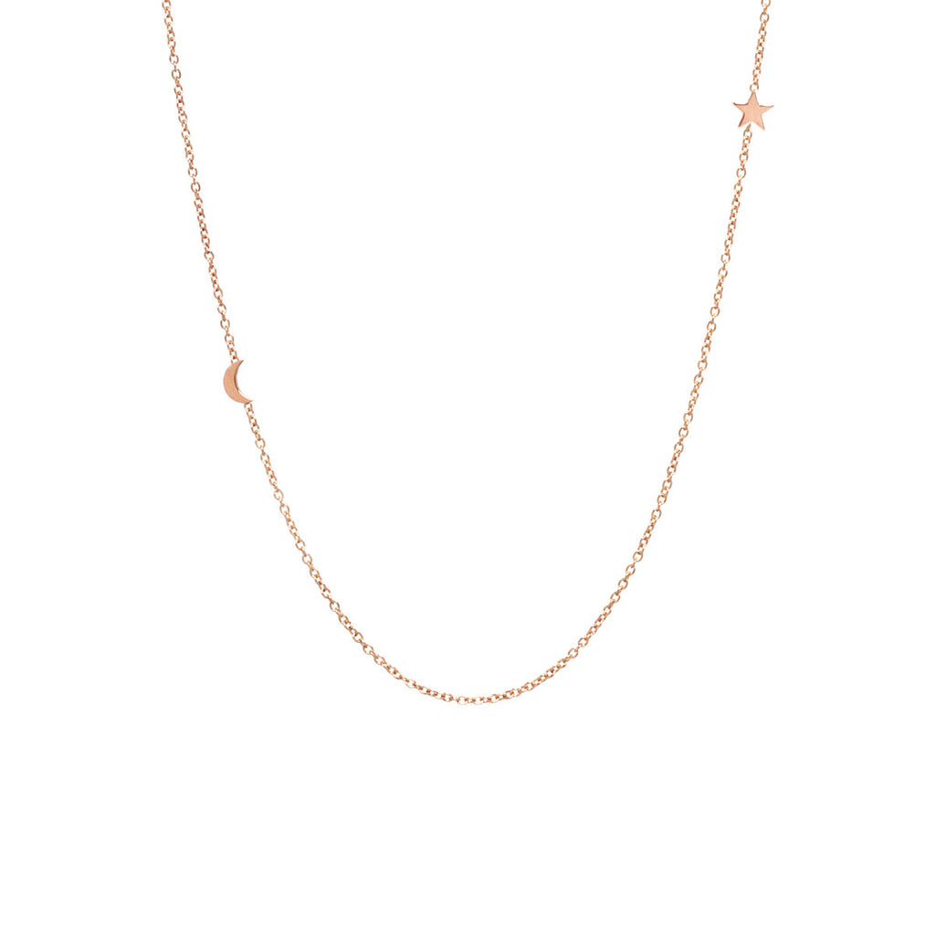 Zoë Chicco 14kt Yellow Gold Itty Bitty Off-Center Moon and Star Necklace