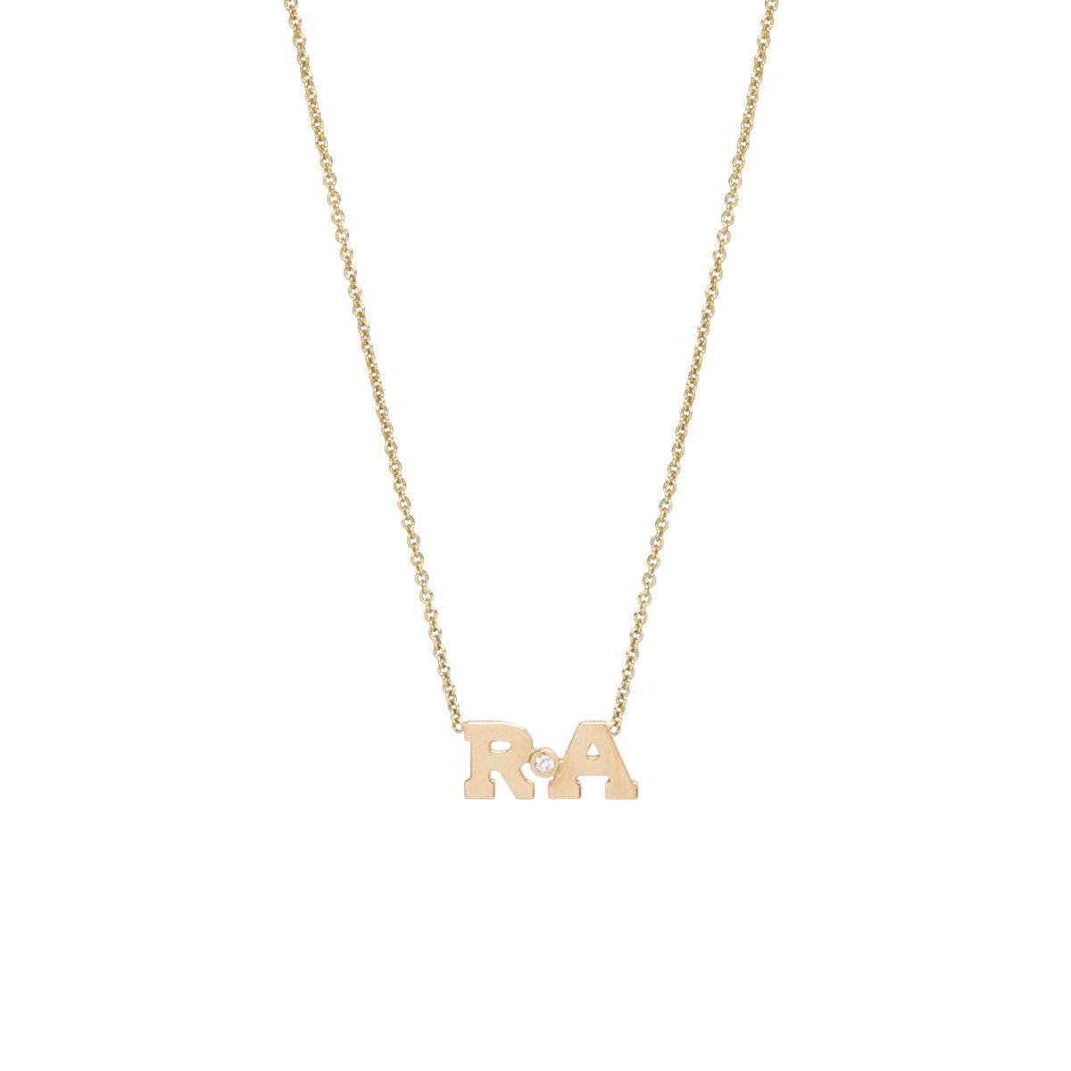 Zoë Chicco 14kt Yellow Gold Diamond 2 Letter Necklace