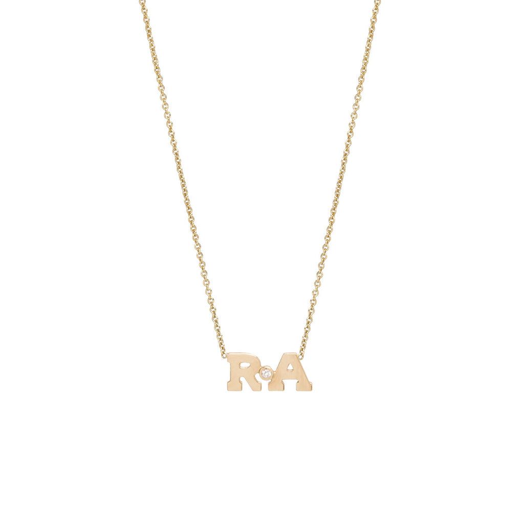 14k gold diamond 2 letter necklace