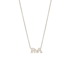 Zoë Chicco 14kt White Gold Diamond 2 Letter Necklace