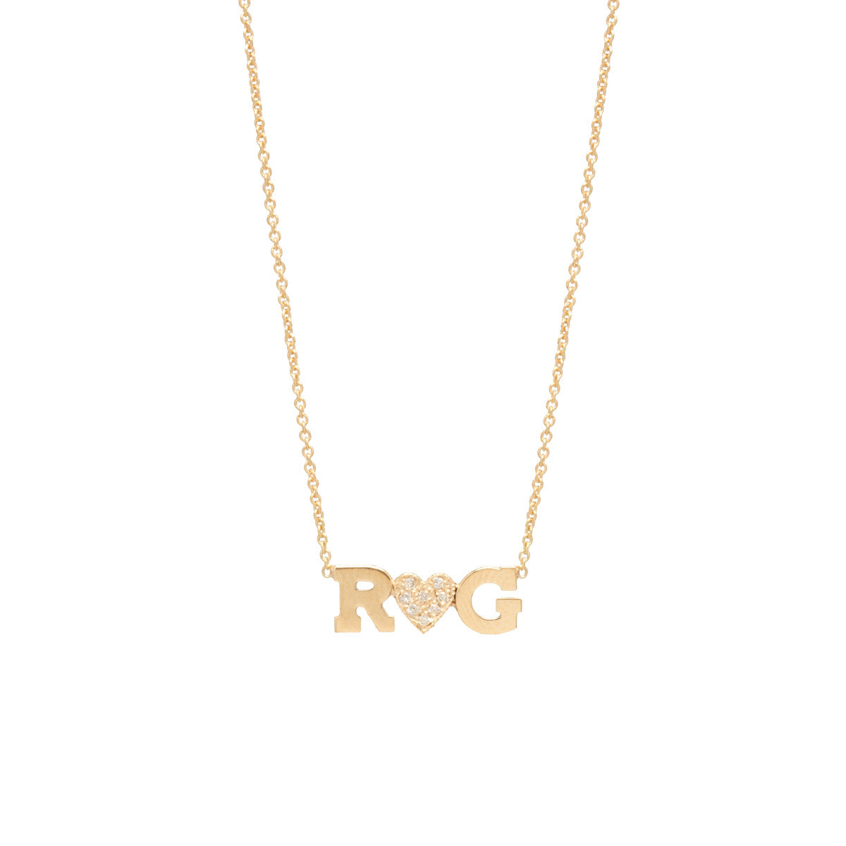 Zoë Chicco 14kt Yellow Gold Two Letter and Diamond Heart Necklace