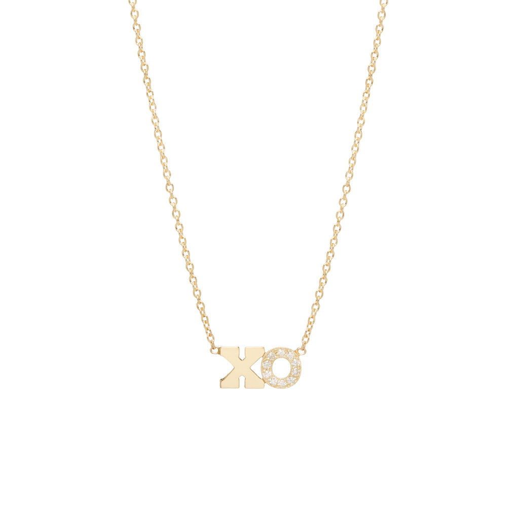 14k gold 2 letter pave diamond necklace