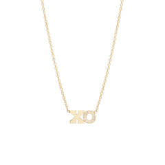 14k pave hugs and kisses necklace
