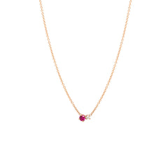 14k Prong Diamond & Ruby Necklace