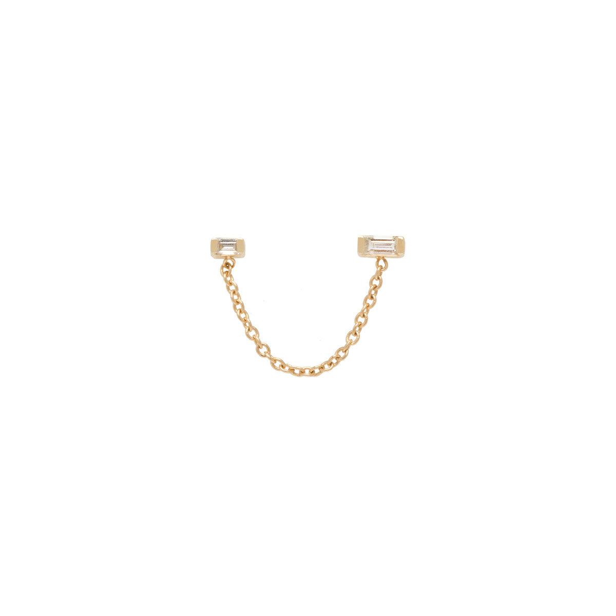 Zoë Chicco 14kt Yellow Gold Double Baguette Diamond Chain Stud Earring