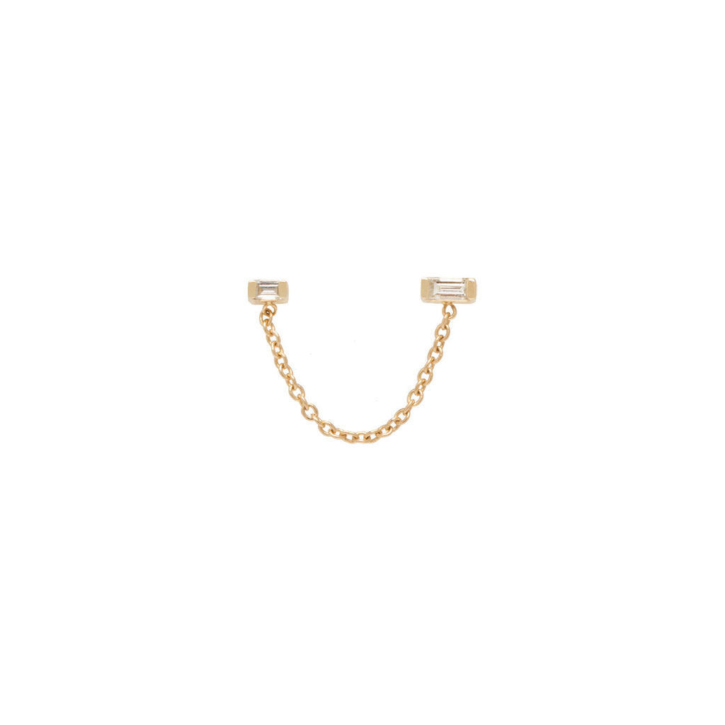 14k double baguette diamond chain stud earring