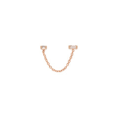 Zoë Chicco 14kt Rose Gold Double Baguette Diamond Chain Stud Earring