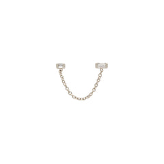 Zoë Chicco 14kt White Gold Double Baguette Diamond Chain Stud Earring