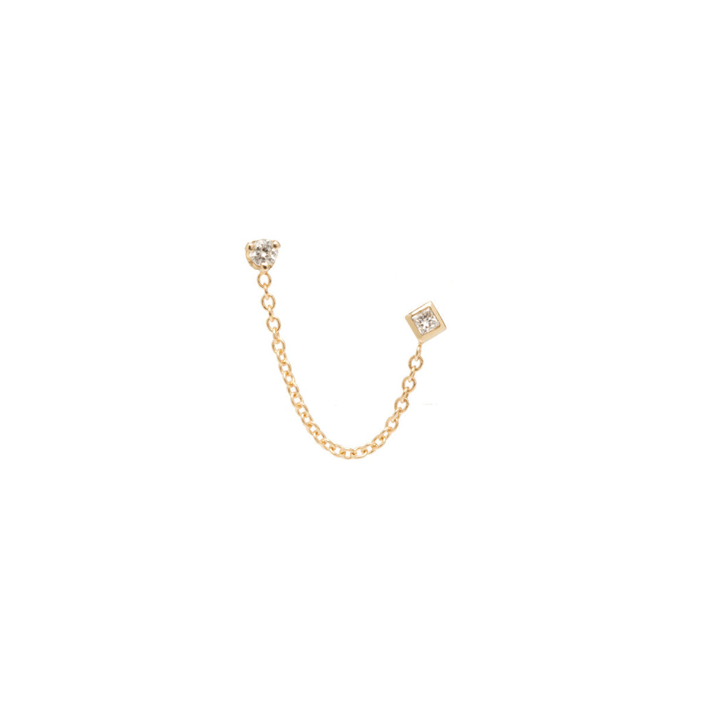 14k mixed diamond chain double stud earring