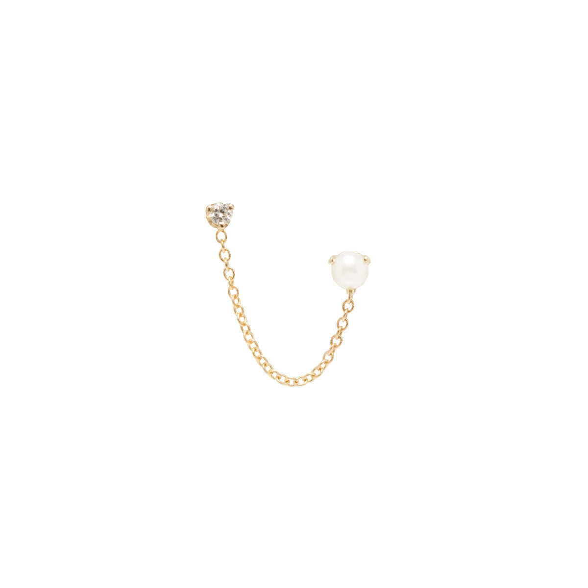 14k pearl and diamond chain double stud earring