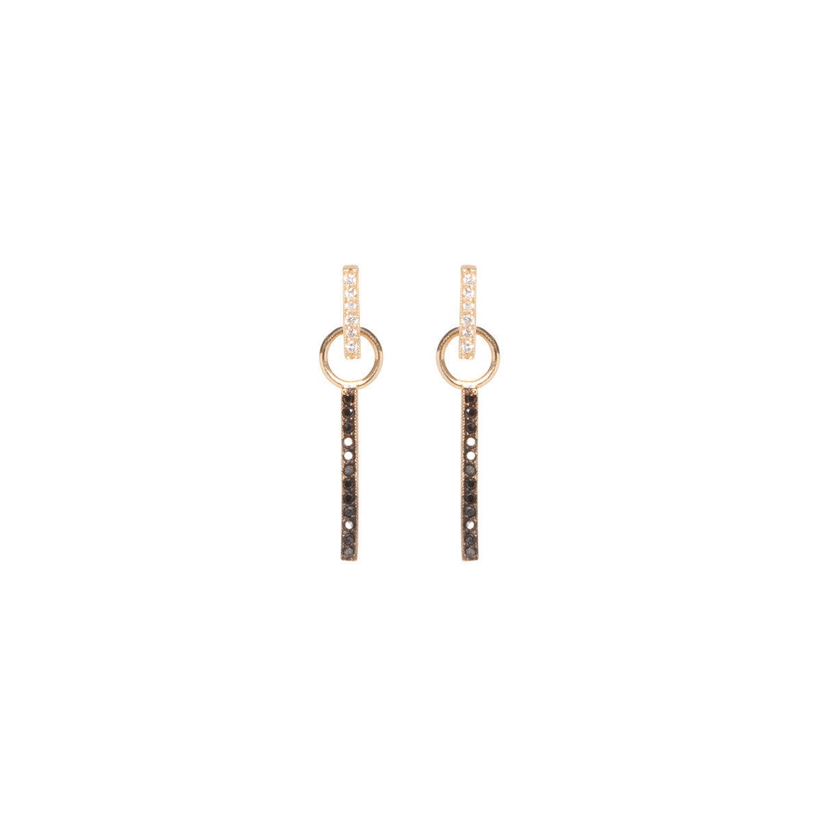 14k pave black & white front to back earrings
