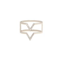 14k Double Pave V Ring
