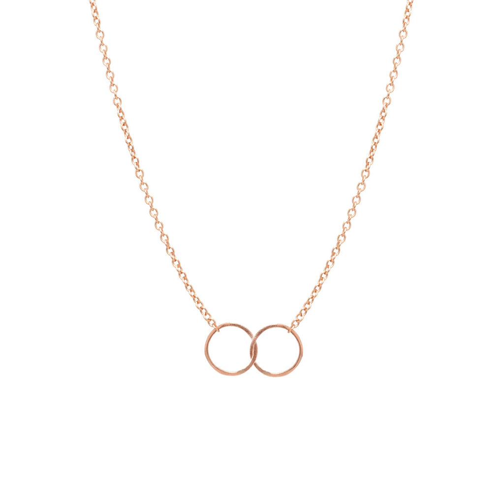 14k tiny double circles necklace