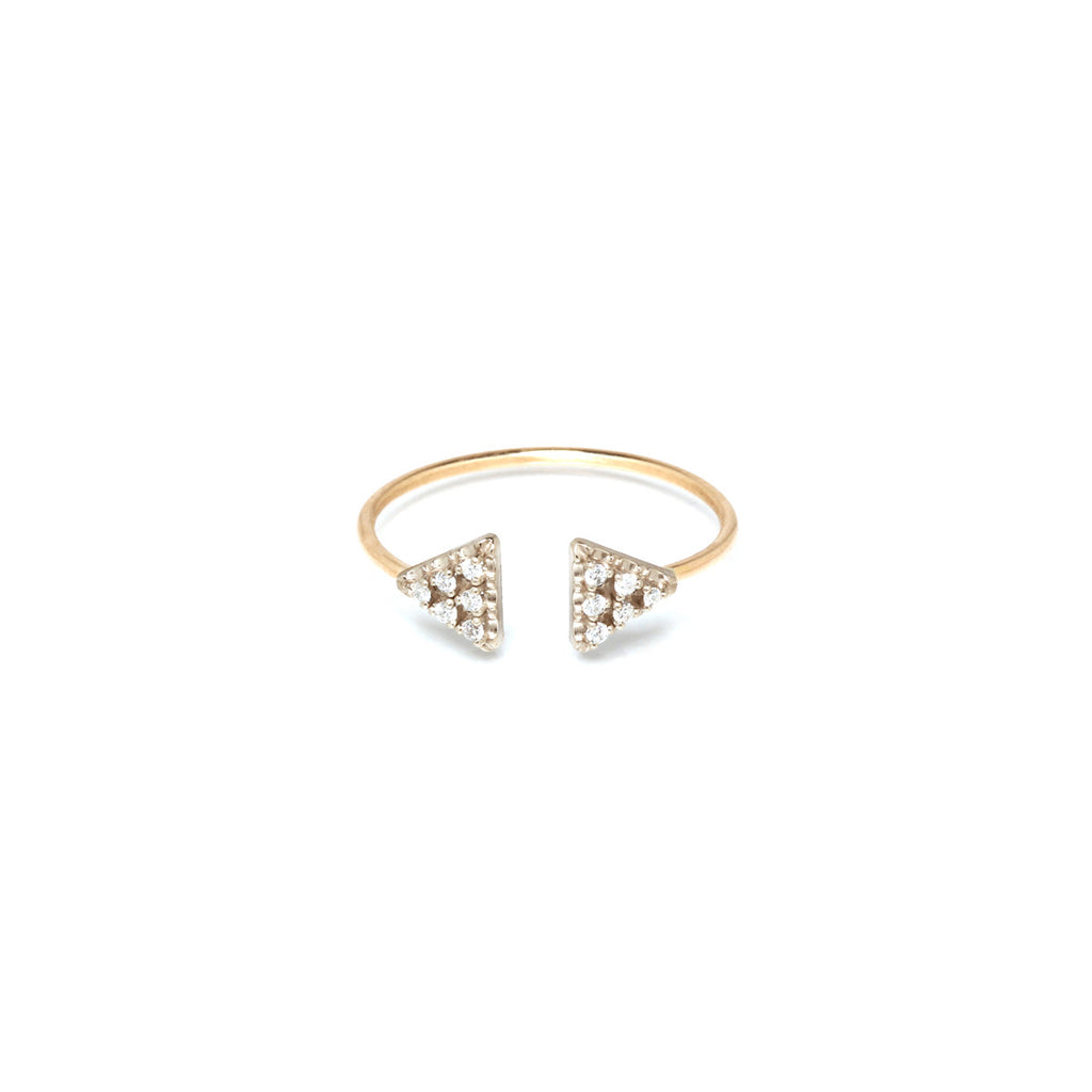 14k open pave 2 triangle ring