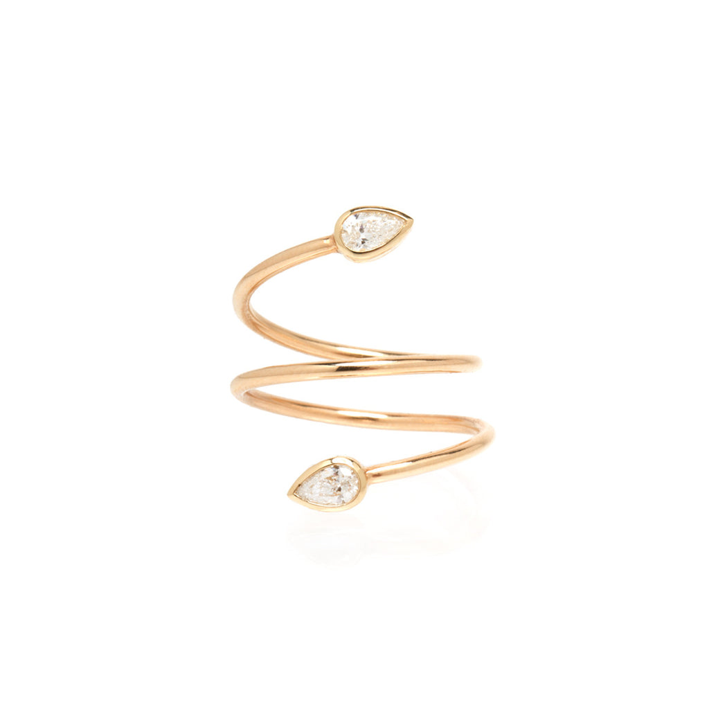 14k pear wrap diamond ring