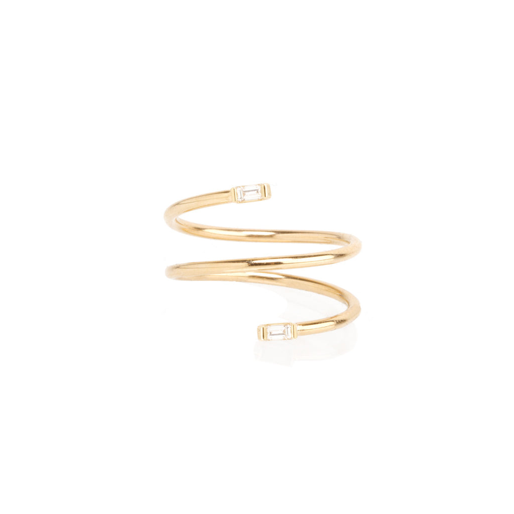 14k double baguette wrap ring