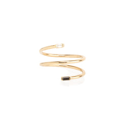 14k mixed double baguette wrap ring