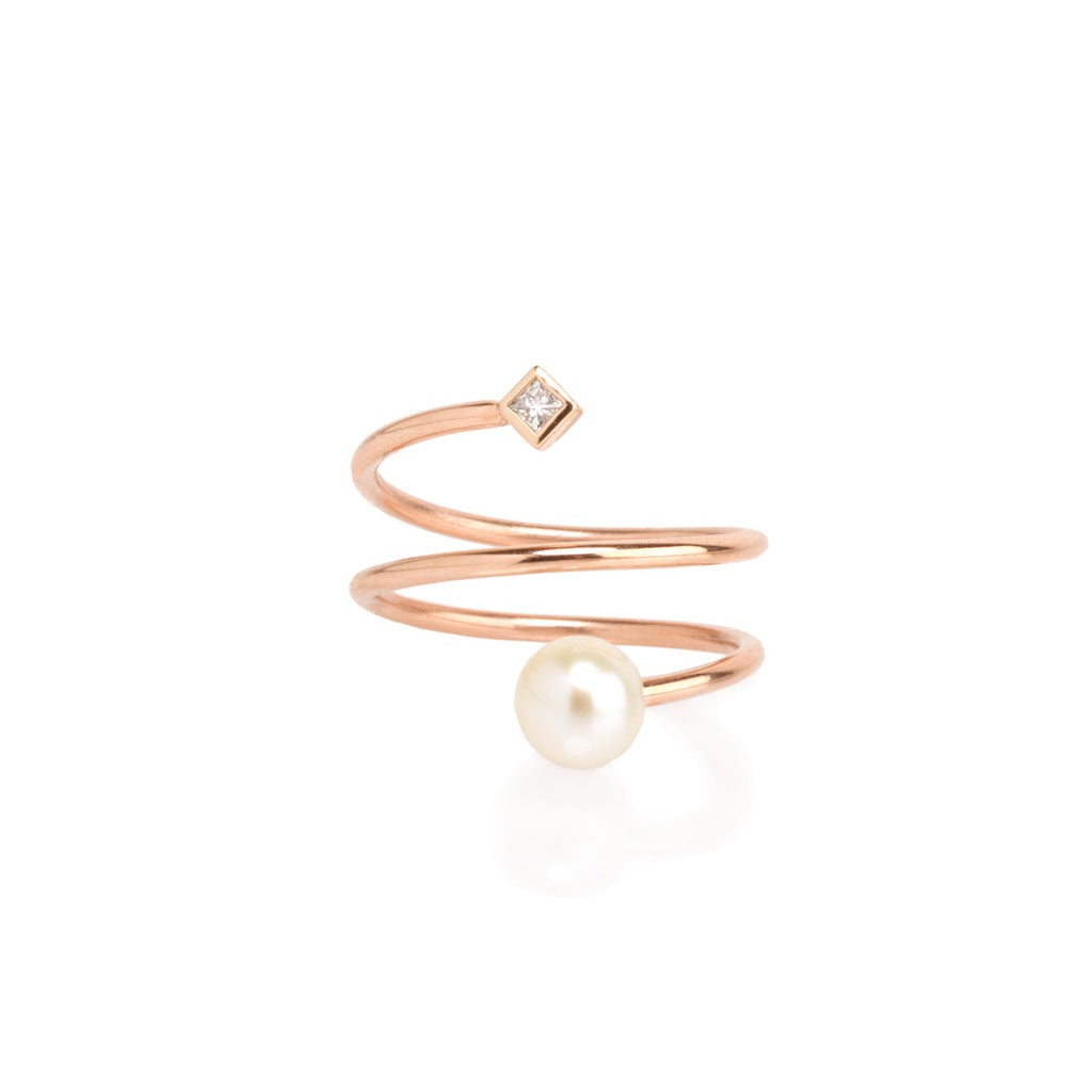 14k princess diamond and pearl wrap ring