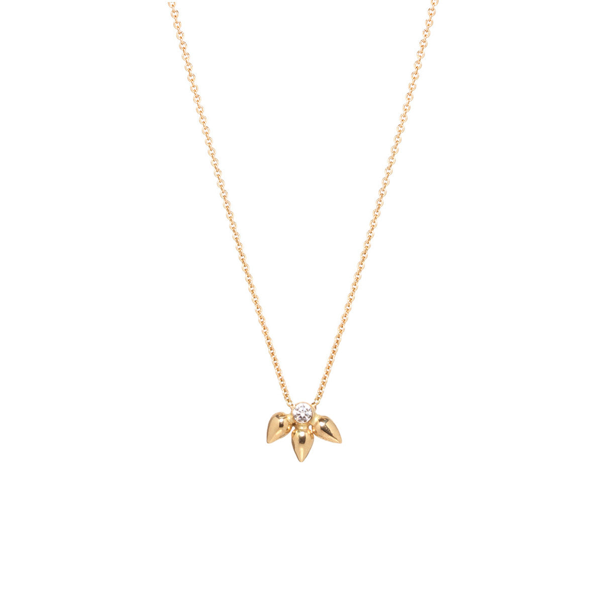 Zoë Chicco 14kt Yellow Gold White Diamond Bullet Cluster Necklace