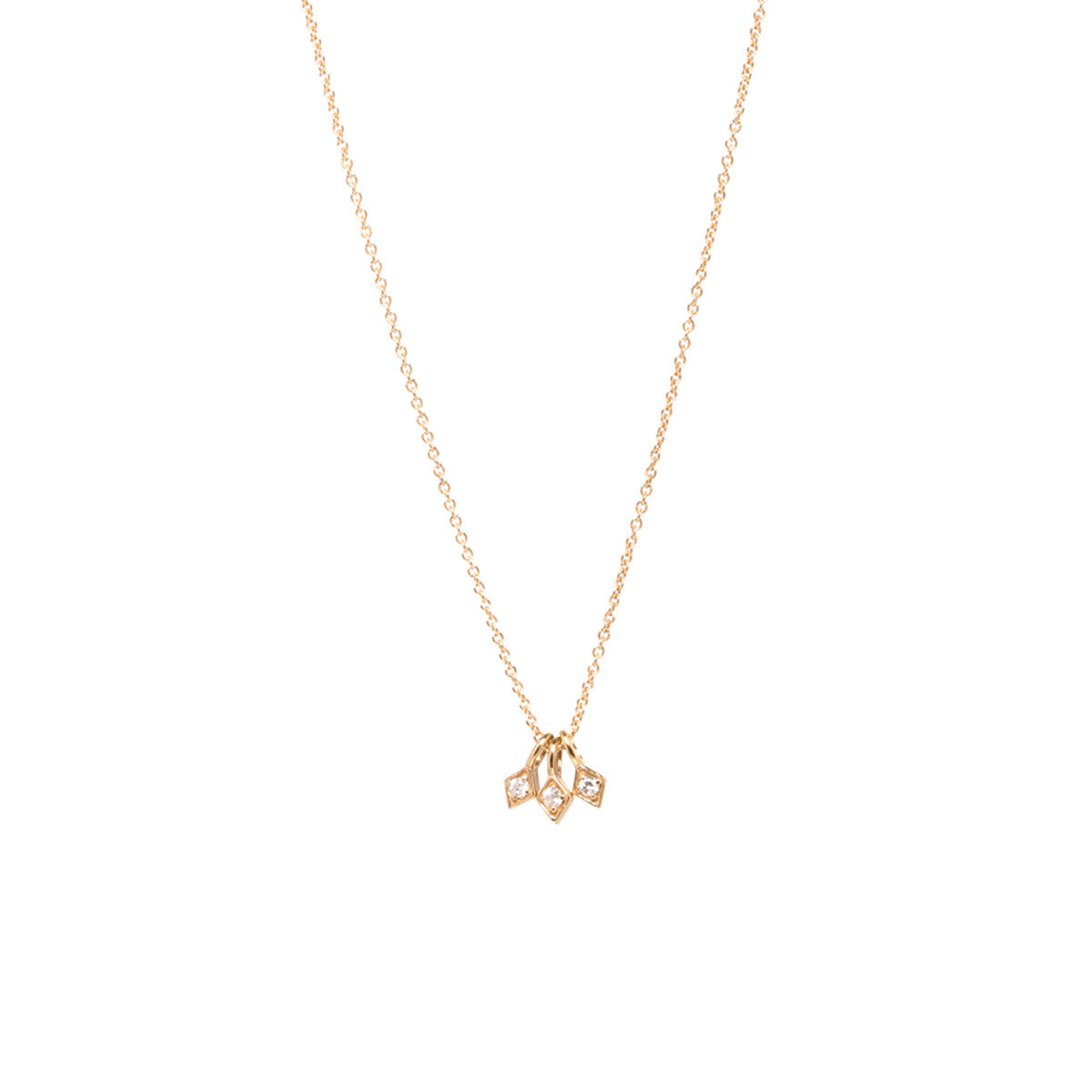 Zo chicco zo chicco 14kt yellow gold 3 tiny diamond shaped zo chicco 14kt yellow gold 3 tiny diamond shaped pendant necklace aloadofball Images