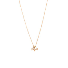 14k 3 tiny diamond shaped pendant necklace