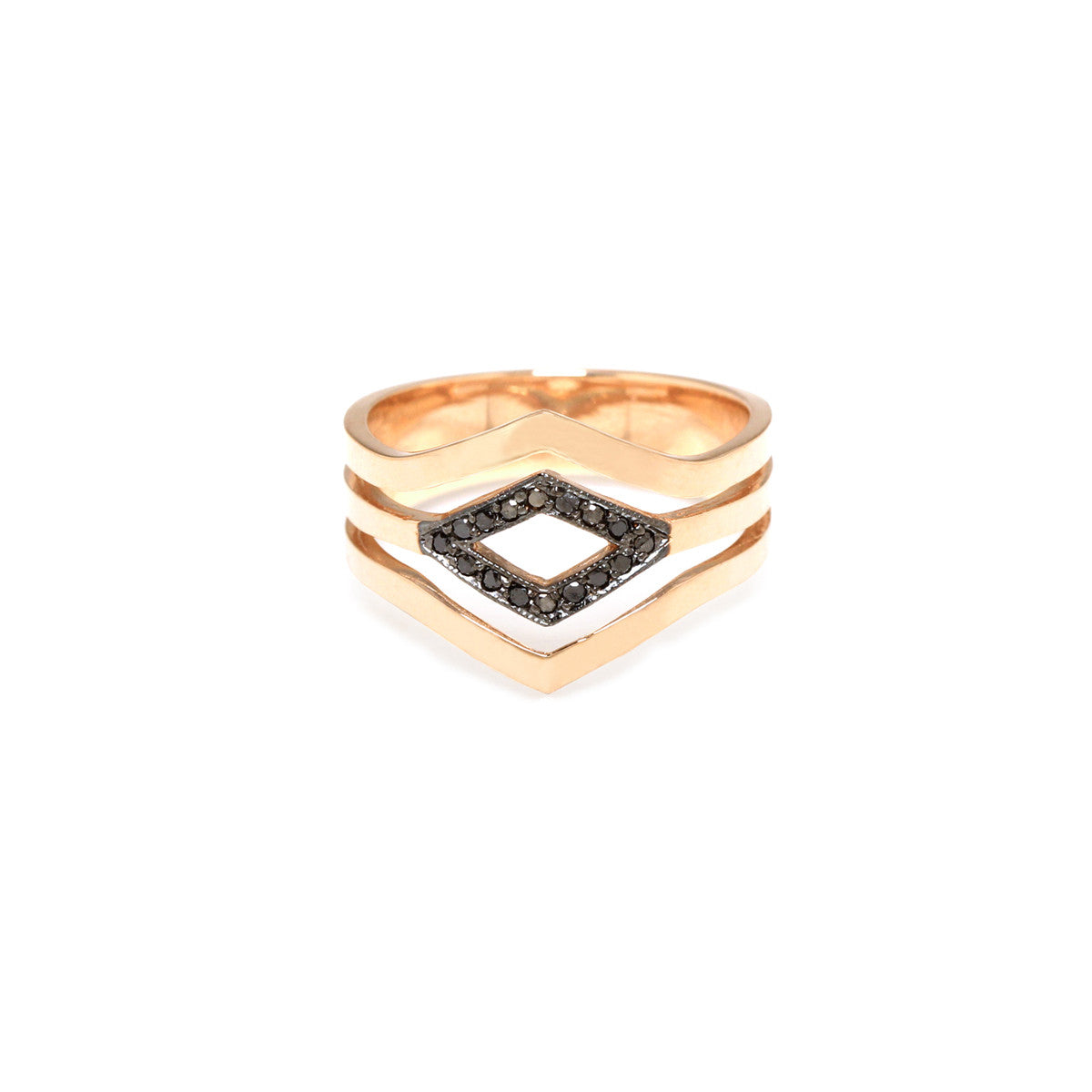 Zoë Chicco 14kt Yellow Gold 3 Band Black Diamond Pave Pointed Ring