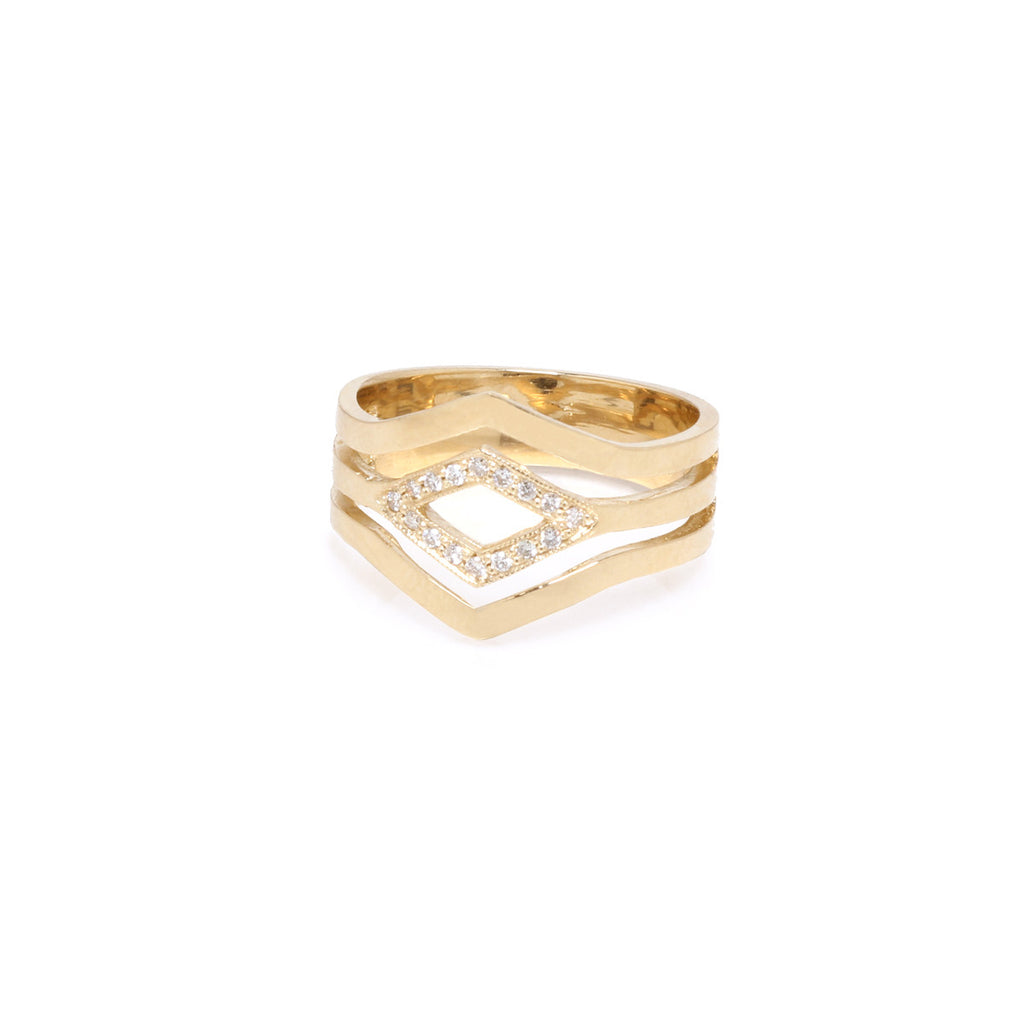14k 3 band white pave pointed ring