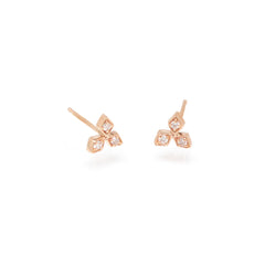 14k tiny diamond shaped trio studs